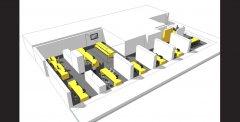 Herinrichting kantoren in Justitiestraat in Antwerpen door Architect Peter Mermans uit Antwerpen / perspectief overzicht