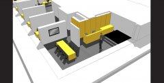 Herinrichting kantoren in Justitiestraat in Antwerpen door Architect Peter Mermans uit Antwerpen / perspectief ontvangstgedeelte